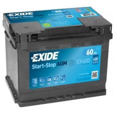 Exide AGM (Start-Stop) 60 A/h Пусковой ток EN680А Обратный -+