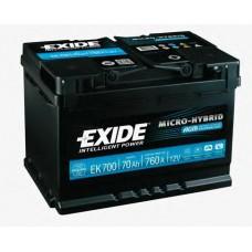 Аккумулятор EXIDE Start-Stop AGM 70 A/h  Пусковой ток EN760А Обратный -+
