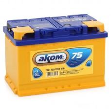 АКОМ 75 A/h Пусковой ток EN700А Обратный -+
