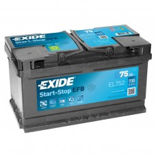 EXIDE  EFB 75 A/h Пусковой ток EN730А Обратный -+