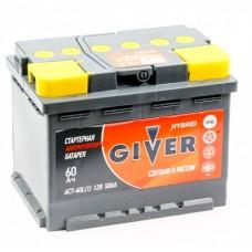 GIVER HYBRID 60 A/h Пусковой ток EN500А Обратный-+
