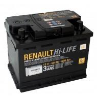 RENAULT 60 A/h Пусковой ток EN600А Обратный-+