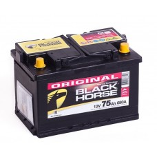 Black Horse 75 A/h Пусковой ток EN700А Обратный-+