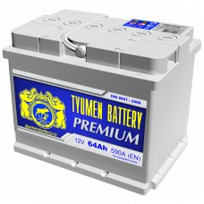 TYUMEN BATTERY PREMIUM 64A/h Пусковой ток EN590А Обратный+-
