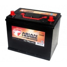 Asian Horse 70 A/h Пусковой ток EN630А Обратный-+