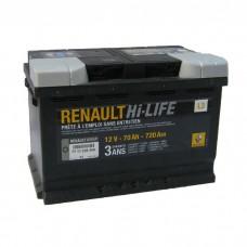 RENAULT 70 A/h Пусковой ток EN720А Обратный-+