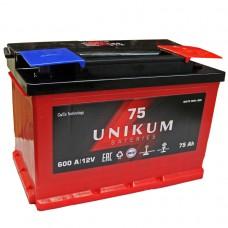 UNIKUM 75 A/h Пусковой ток EN600А Обратный-+
