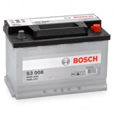 BOSCH S3 70 A/h Пусковой ток EN640А Обратный-+