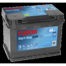 TUDOR AGM (Start-Stop) 60 A/h Пусковой ток EN680А Обратный -+