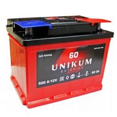 UNIKUM 60 A/h Пусковой ток EN500А Обратный-+