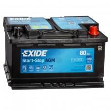 EXIDE Start-Stop AGM 80 A/h Пусковой ток EN800А Обратный -+