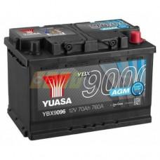YUASA AGM 70 A/h Пусковой ток EN760А Обратный-+